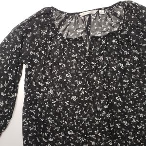 Lauren Conrad Black & White Floral Sheer Top